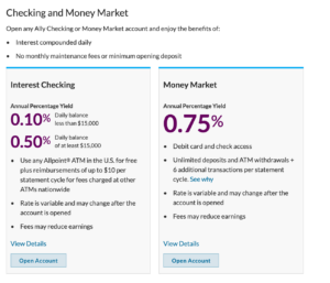 Checking and Money Market
