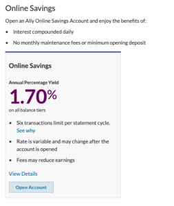 Online Savings Account Ally Bank
