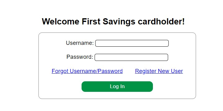 First Savings Credit Card Log In Form